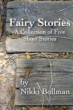 Fairy Stories cover, old gray wooden planks on ground with dry leaves