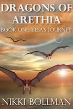 Dragons of Arethia Book Three: Tesa's Journey cover. Three dragons flying toward viewer with sunset clouds in background and water below.