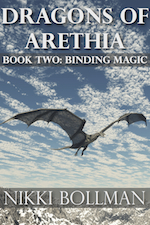 Dragons of Arethia Book Two Binding Magic cover. Dragon flying in front of blue sky over snowy mountains