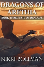Dragons of Arethia Book Three: Fate of Dragons cover. Dragon flying above clouds in orange-colored sky.