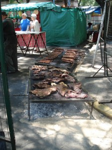 At the Feria de Mataderos, there was lots of yummy smelling food, since it was a butcher's market!