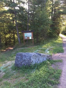 The trailhead at the top of Congdon Park Trail, at the intersection of St. Marie St and Vermilion Rd.