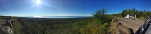 I tried out the panorama function on my iPhone to get this shot of Lake Superior from Hawk Ridge. I went a little far to the right.